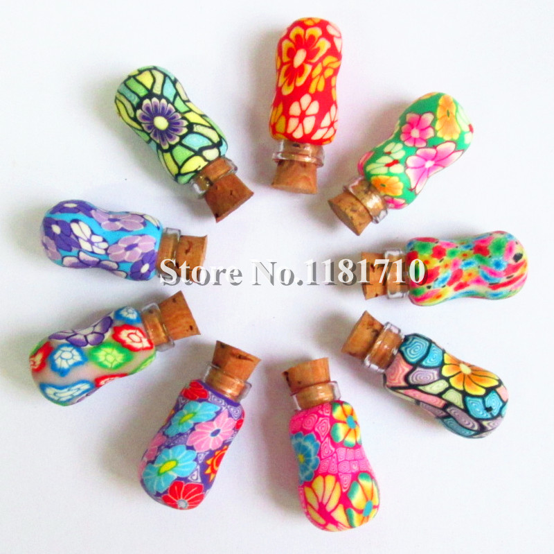 10 1ml Polymer Clay Bottle Cork Aromatherapy Pendant Fimo Glass Essential Oil Perfume - Bottles store