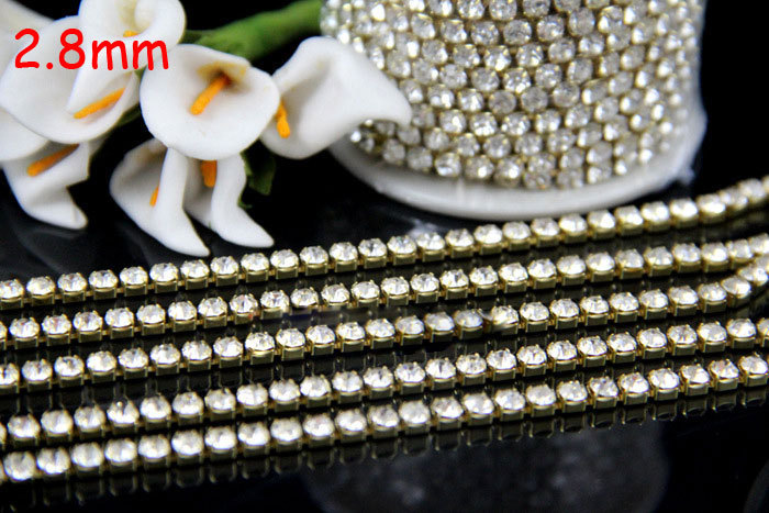 ss10 2.8mm 1meter 29Crystal Close Rhinestone Cup Chain gold Metal Claw Trimming DIY Accessories - MEIBEADS-Diy Jewelry Making Supplies Store store