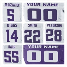 100% Stitched With Customized Men's #28 Adrian #55 Anthony #5 Teddy #14 Stefon #22 Harrison Elite White Purple Jersey(China (Mainland))