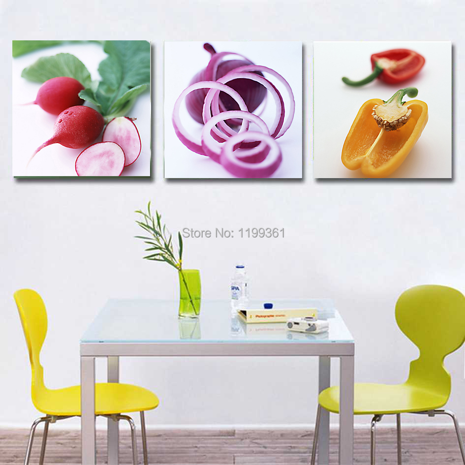 Kitchen Wall Decor Vegetables : Panel free shipping modern home decoration wall art
