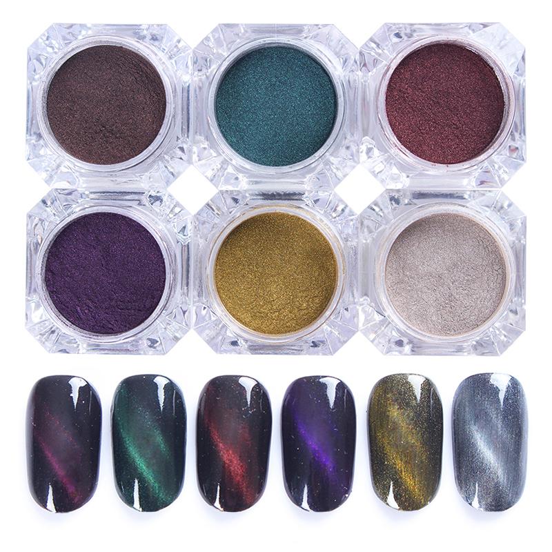2g/box 3D Cat Eyes Glitter Magnet Nail Glitter Powder Magic Magnetic Glitter Dust UV Gel Manicure Nail Art Pigment Powder