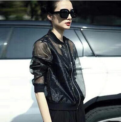 Euramerican fashion street snap summer gauze organza prevented bask thin coats, plus-size cool breathable leisure outwear #0683(China (Mainland))