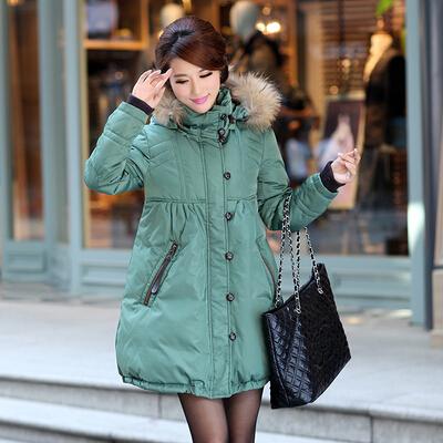 Куртка утка пуховик длинная, зима большие мех воротник толстый приталенный парка женское пальто леди в холодная заморозка сопротивление тёплый