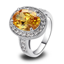 Wholesale Exquisite Unique Citrine 925 Silver Ring Size 7 New Fashion Jewelry 2014 Gift  For Women