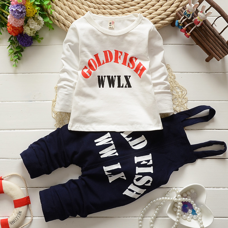 4set/lot autumn cotton baby Jumpsuit boys girls sets tees+Overalls Long Pants Playsuit Rompers children clothing factory qk247(China (Mainland))