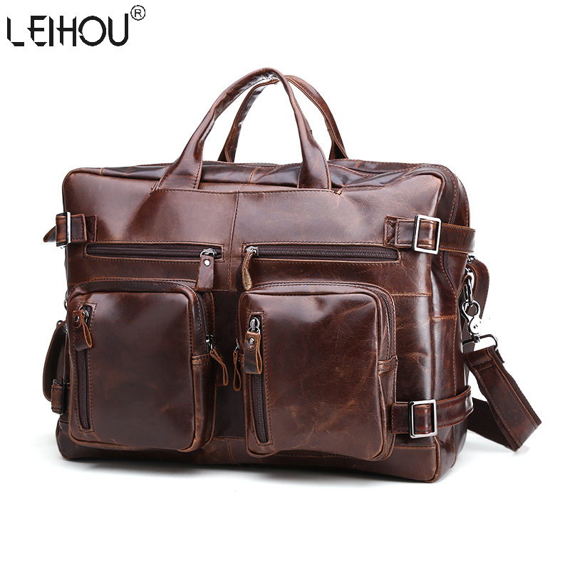 2016 new 100% Genuine Leather men bag Shoulder Bags Brand New vintage laptop business men's travel bags tote Men messenger bags(China (Mainland))