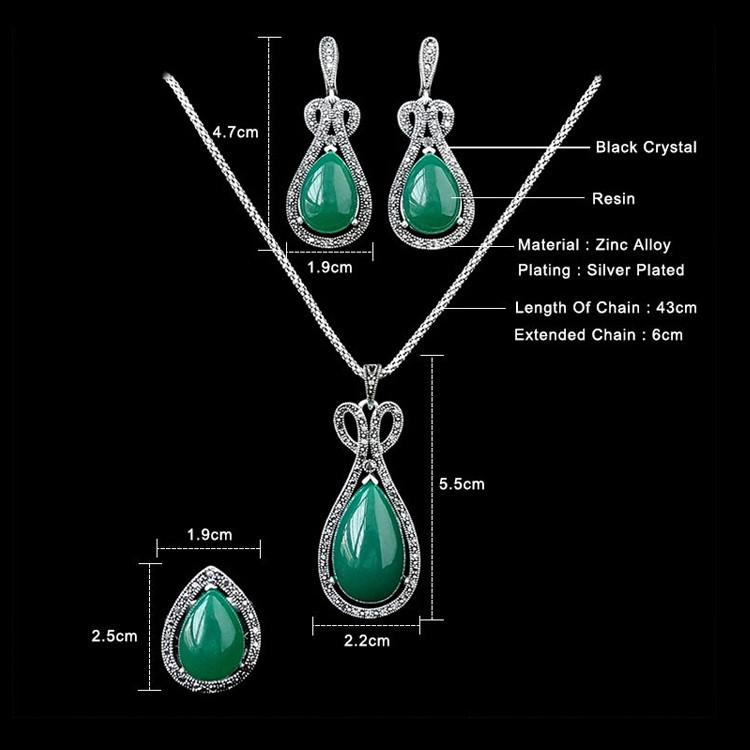 Старинные Ювелирные Изделия Черный Кристалл И Зеленый Water Drop Ожерелье Серьги Комплект Кольца Античная Посеребренная Ювелирные Наборы Для Женщин