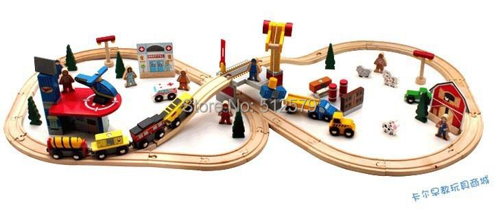 70pcs DIY Wooden railroad Railway Toy Thomas and His friends Wooden Building Blocks Set Train Thomas toys(China (Mainland))