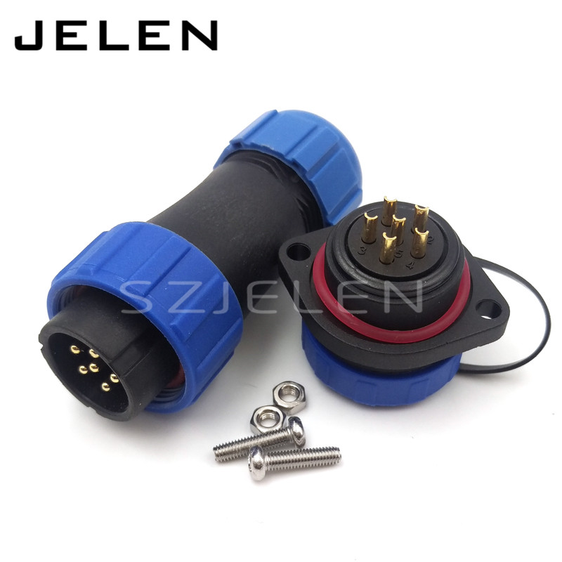 SP2110, IP68 electrical waterproof welding cable connectors 6 pin male and female ,Screws panel mounting waterproof connector(China (Mainland))