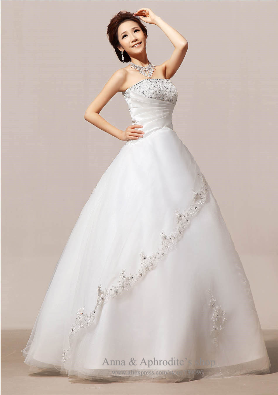Cream white color exquisite no train strapless winter for Wedding dress no train