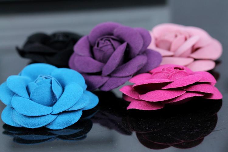 1Lot/6pcs Size :5.5x5.5cm Fabrics Camellia Flower Cell Phone Diy Accessories Diy Handbags/Shoes/Purse/Hair Rhinestone Decoration(China (Mainland))