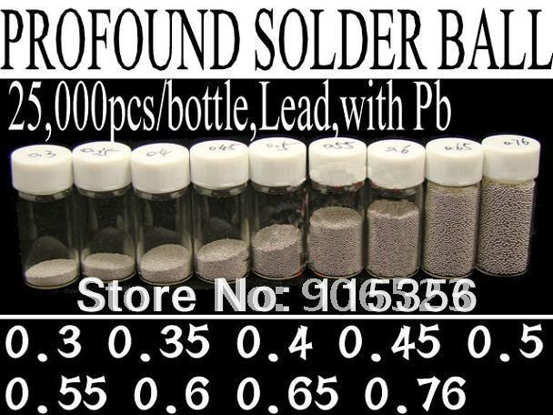 Free shipping full set 9 Bottles 0.3 0.35 0.4 0.45 0.5 0.55 0.6 0.65 0.76mm BGA solder balls