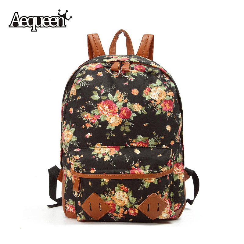 Women Flower Backpack Lady Shoulder Bags Canvas Leather Girls College Students Schoolbags Preppy Style Large Floral Packbags(China (Mainland))