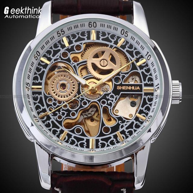 Мужчины скелет автоматические наручные часы мужской кожаный ремешок антикварная стимпанк свободного покроя скелет механические часы Relogio Masculino