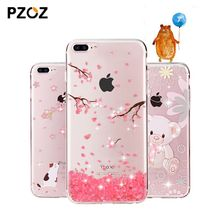 PZOZ For iphone 7 Case Rhinestone Glitter Silicone Cover Original For iphone 7 Plus Luxury Crystal Diamond Soft Shell 4.7&5.5(China (Mainland))
