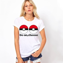 Fashion Pokemon Ball Print T-shirts Go Team T shirts Women Anime Thrasher Tops Tees Female Casual Pokeball Nerd Team Tee Shirt
