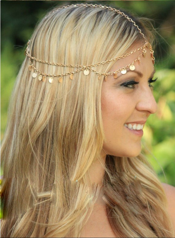 Gold Chain Crown Headband Forehead Jewelry Head Chain Hair Accessories hair jewelry 2015 Fashion hair ornament para cabelo CF075(China (Mainland))