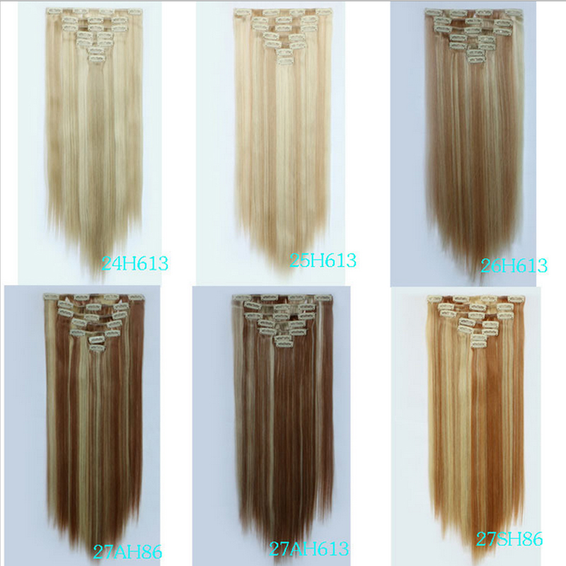 1pcs Women Hair Extension 130g 55cm Straight False Hair With Clips Hairpieces Party Highlights(China (Mainland))