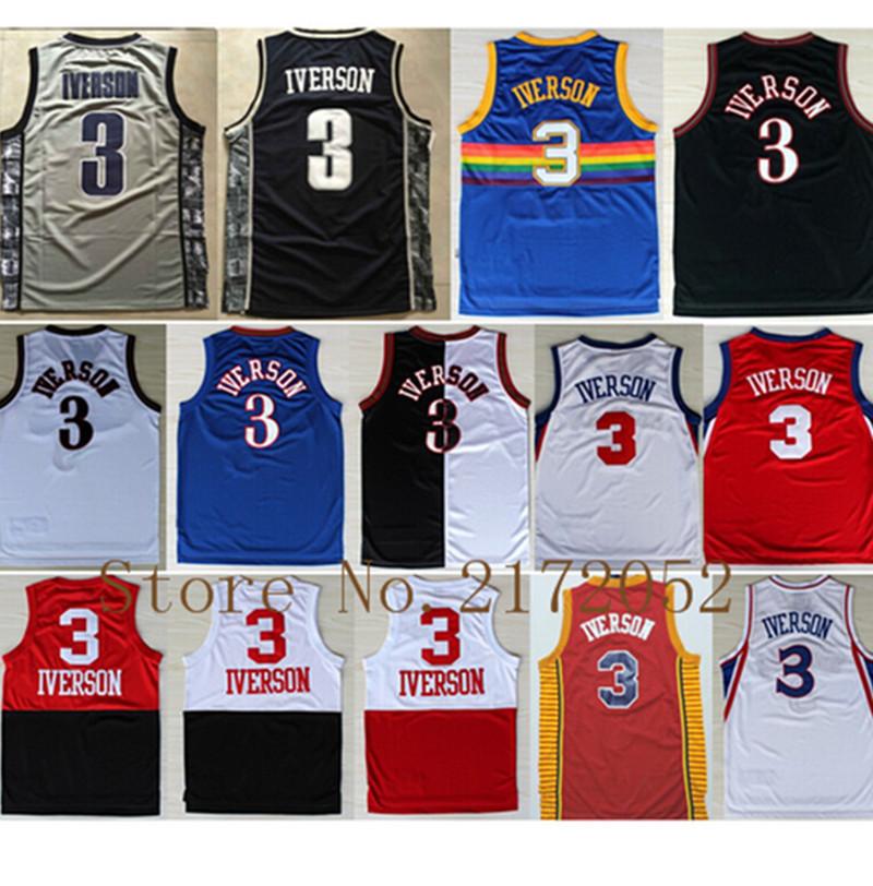 venta al por mayor retroceso #3 Allen Iverson Jersey de la alta calidad nuevo estilo Allen Iverson College Basketball Jerseys(China (Mainland))