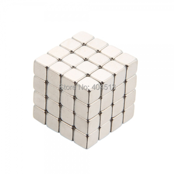 64pcs *5mm Diameter Square Buckyballs Neocube Magic Cube Puzzle Magnetic Magnet Balls Silver Education Puzzle DIY Toy(China (Mainland))