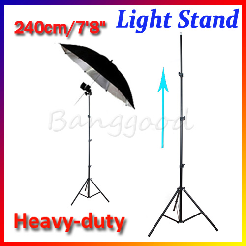 Thicken strong 240cm 7.8ft Refined Aluminum Tube Light Lamp Stand Tripod Photo Studio Video Flash Umbrellas Reflector Lighting(China (Mainland))