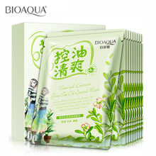 Buy Green Tea Oil Control Moisturizing facial face mask sheet fresh greasy brighten skin care cosmetics brand treatment mask for $7.10 in AliExpress store