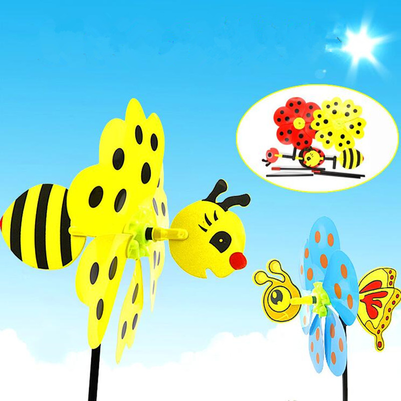 Cute Bumble Bee Ladybug Windmill Whirligig Wind Spinner Children Funny Toys Home Yard Garden Decoration(China (Mainland))