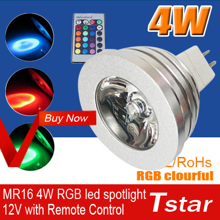 4W AC12V MR16 RGB LED BULB led Bulb Lamp with Remote Control multiple colour led spotlight Free shipping(China (Mainland))