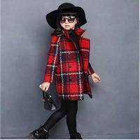 2015 New winter Woolen cloth coat plaid thicken winter coat, children girls woolen coat, Korean version of children's clothing