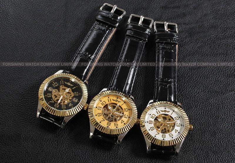 Новый Победитель Повседневная Автоматические Часы Мужчины Горячие продажа серебряный Автоматические моды для Мужчин Смотреть кожаный ремешок Доставка Бесплатно WRG8076M3T1