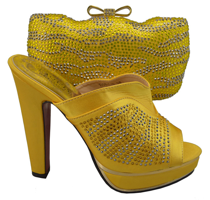 High quality African Fashion Shoes and Matching Bags set with plenty sequins,fast sale Italy Shoes and Bags in yellow YBS1-57(China (Mainland))