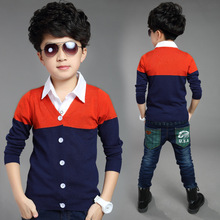 new children's clothing Boys Spring 2016 autumn child spell color sweater cardigan casual clothing color kids clothes sweaters