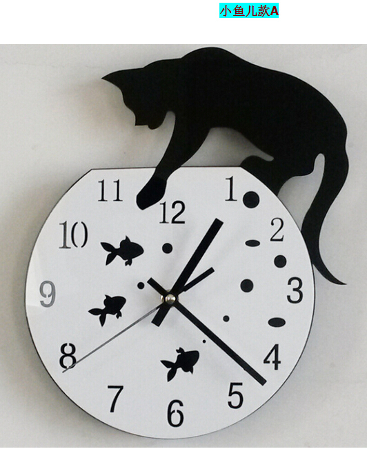Hot Sale 2015 Diy Black White Cat Fish Creative Quartz