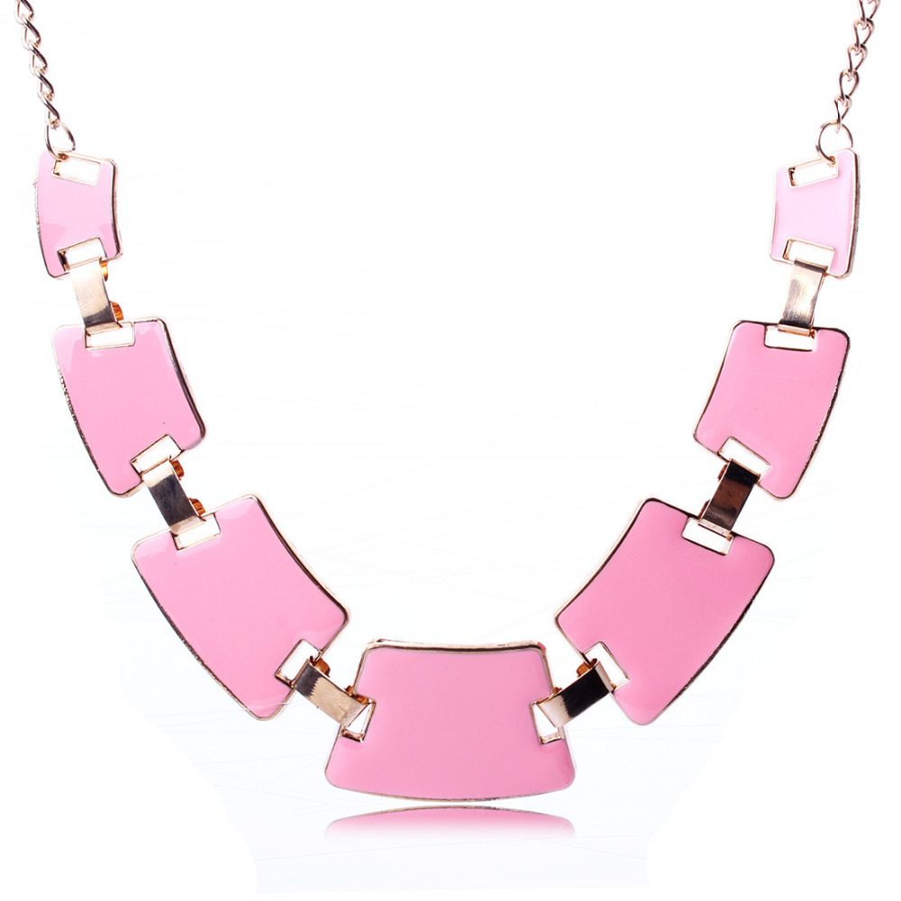 2015 New Arrival Gold Oil Drip Gold Plated Geometric Design Chain Pendant Necklace Women Jewelry Gift