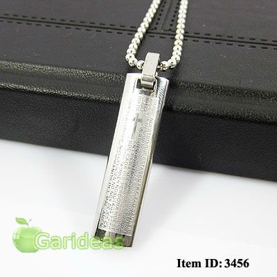 Free shipping +Wholesale Lovers'  Silver Stainless Steel Bible Cross Chain Pendant Necklace  Cool Gift New  Item ID:3456