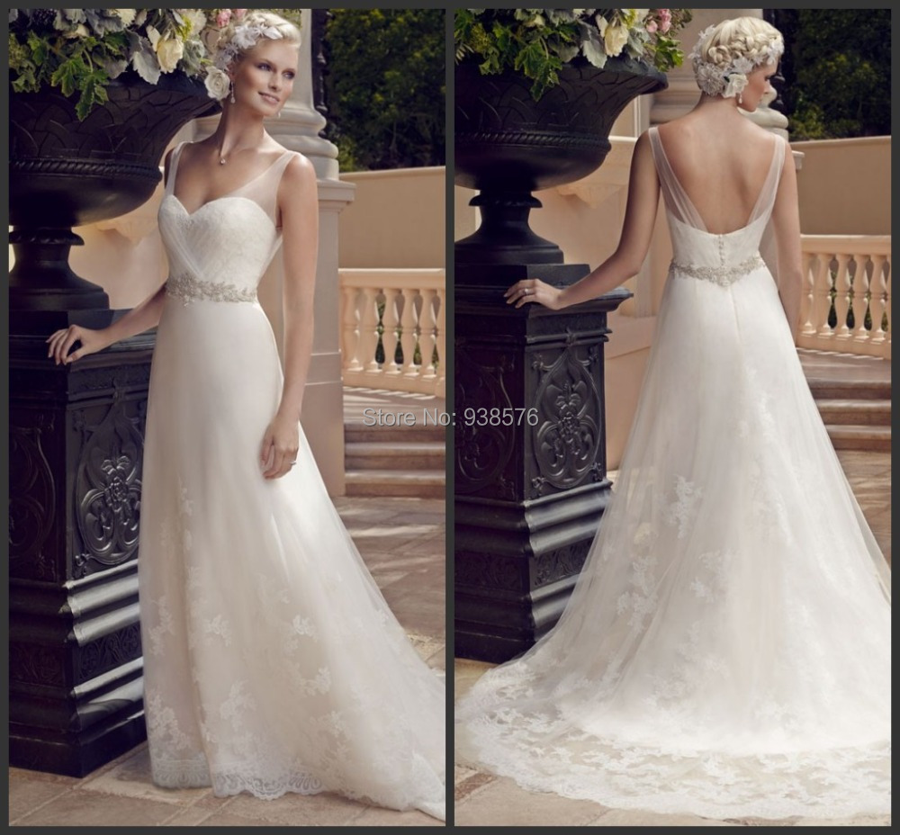 Vestido de noiva 2015 new a line style white open back for Spanish wedding dresses lace