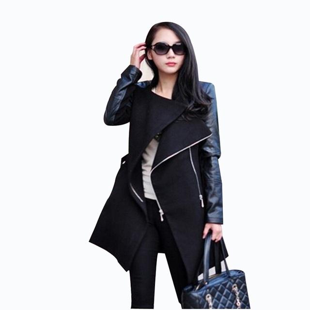 Прямая поставка! 2016 европа женщин тонкий зимнее шерстяное пальто мода заклинание ...