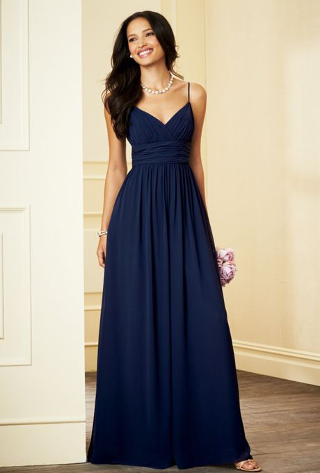 Elegant navy blue long bridesmaid dresses 2016 beautiflu v for Blue long dress wedding