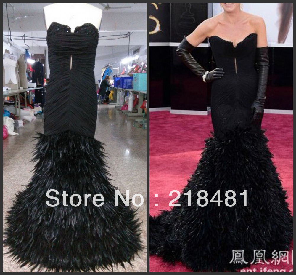 2014 New Arrival Real Made Pacific Sexy Sweetheart Feather Beads Crystal evening Dresses XXX-37(China (Mainland))
