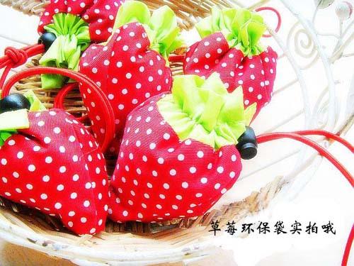 10pcs/Lot Foldable Strawberry Shopping Bag Colors Wholesale Folding Supermarket Bag,Travel portable bag Environmental Bag(China (Mainland))