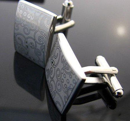 Egypt Pattern Laser Engraved Silver Plated Cufflinks for Men Wedding Presents and Gifts