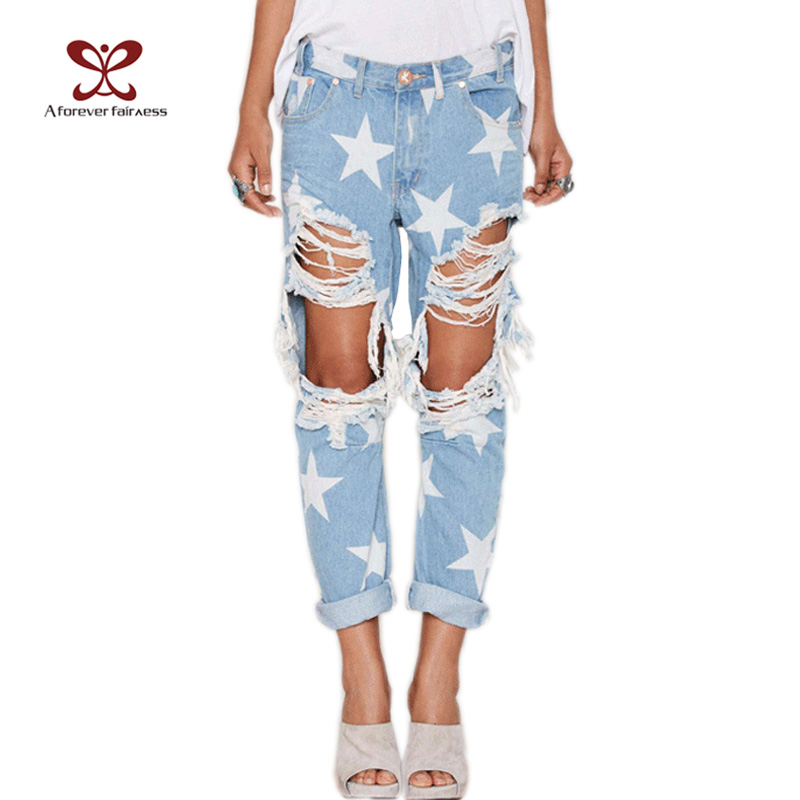 2016 Hot Explosion Models New Fashion Women Casual Ladies Hole Jeans Loose Star Straight Denim Ripped Jeans For Womens NC-1005Одежда и ак�е��уары<br><br><br>Aliexpress