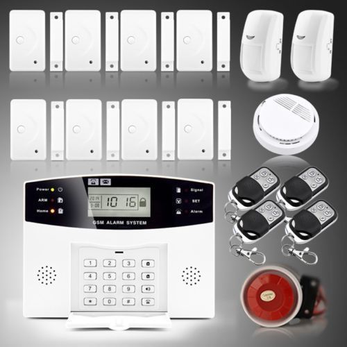 108 Zones Wireless LCD GSM Alarm system Home Burglar Security Alarm System Smoke Detector for USA buyer(China (Mainland))