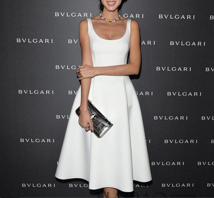 2016 new women prompt big star white tutu dress midi(China (Mainland))
