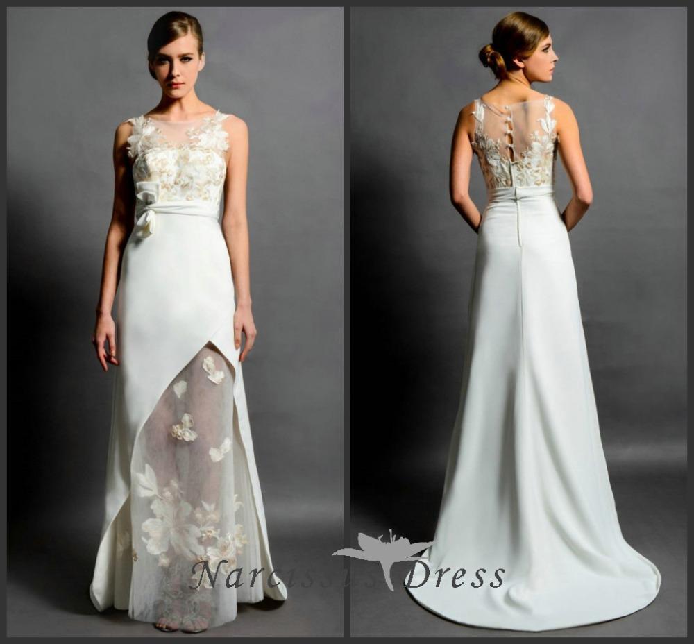 Classy 2015 elegant a line sheer neck wedding dress holy for Wedding dresses elegant classy