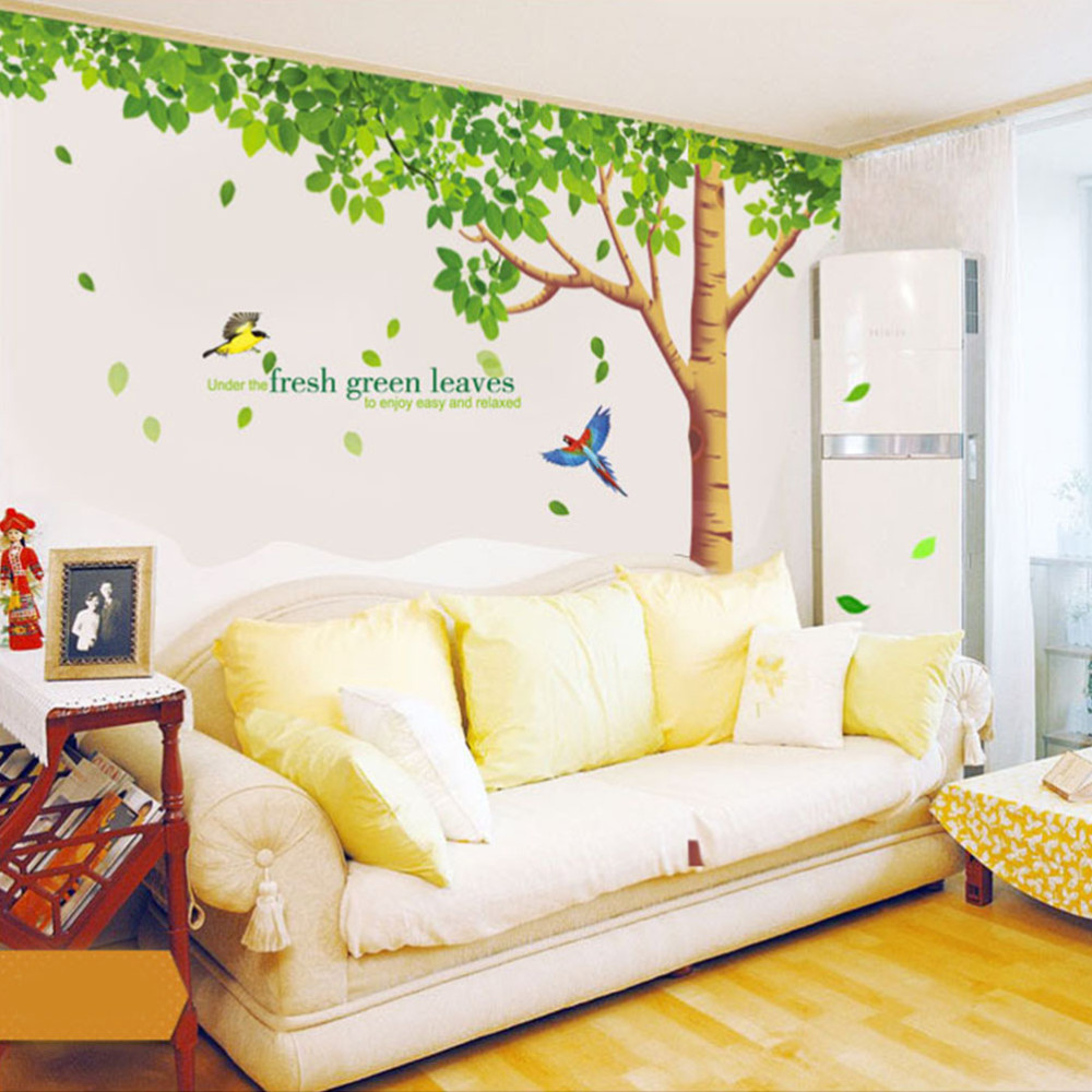 Removable Dining Room Wall Stickers Home Furnishing Decor Poster Decorative Wall Stickers Green Trees Adesivo De Parede for Kids(China (Mainland))