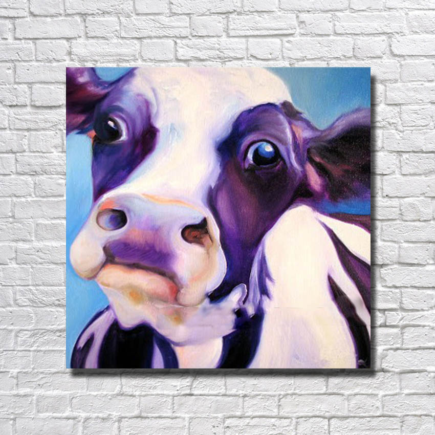Cheap High Free 100% Hand Painted Beautiful Cow Oil Painting Canvas Living Room Decortion Framed Art