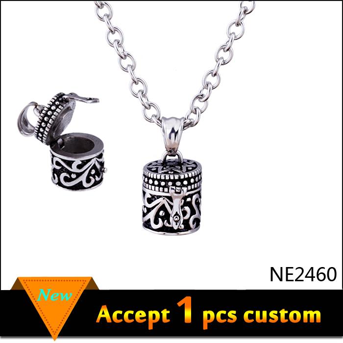 Senfai Christmas Gift Steampunk Vintange Anti-Silver Plated Prayer Box Necklace Locket Little Tiny Wish Box Locketmen Jewelry(China (Mainland))