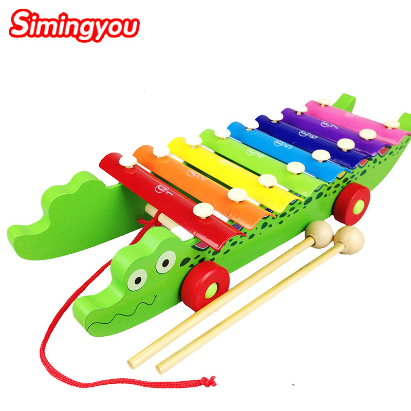 Simingyou Crocodile Xylophone Knock On Piano Baby Kids Wooden Toddler Learning Education Musical Toy MZ03(China (Mainland))