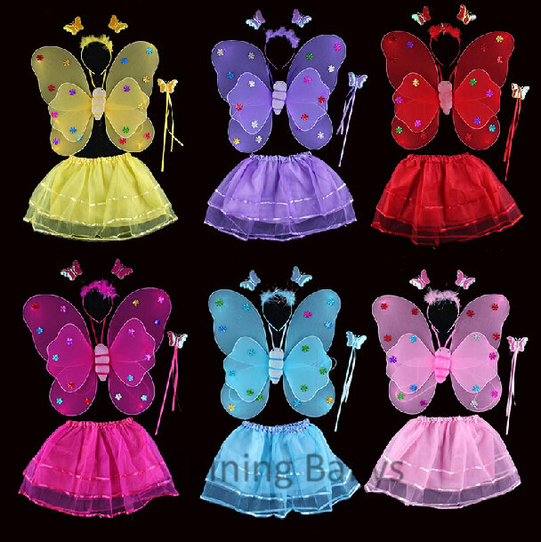 Child Girls Butterfly Angel Cosplay Costume Wing +Skirt +Magic wand+ Headband 4 pieces Set Birthday Holiday PartyWear Fairy Tale(China (Mainland))